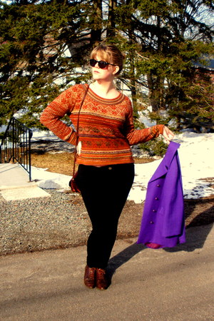 dark brown vintage shoes - purple vintage jacket - carrot orange thrifted sweate
