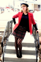 navy beret vintage hat - red vintage blazer - black vertical stripe H&M tights -
