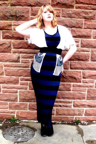black Spring shoes - navy striped maxi H&M dress - ivory thrifted cardigan - bla