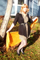 beige vintage dress - black random cardigan - heather gray Walmart stockings - g