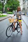Yellow-zara-shorts-black-zara-sweatshirt-red-tibi-sandals