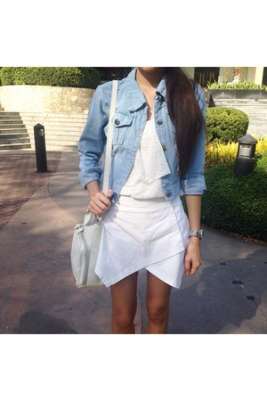 ivory chiffon top - light blue denim Forever21 jacket - ivory leather bag