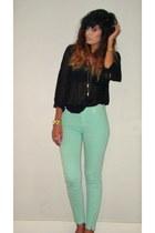 aquamarine Zara jeans - black Primark blouse - yellow neon  gold H&M bracelet