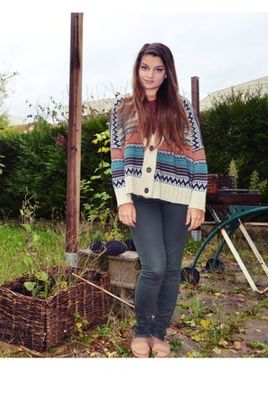 multicolor Cache-cache cardigan - green Cache-cache jeans - burgundy Newlook top