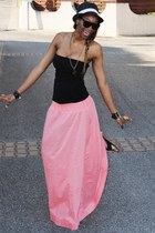 black hat - black top - light pink Long skirt H&M SS 11 skirt