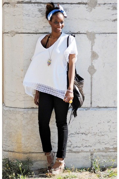 black Mango jeans - blue asos scarf - dark brown Zara bag - white H&M cape