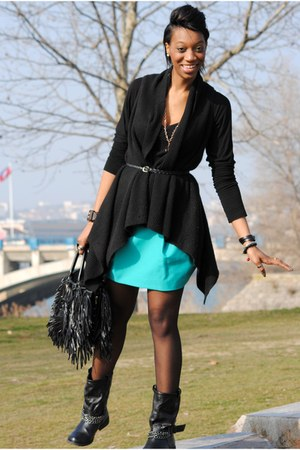 black Asos London boots - black Prada bag - turquoise blue Zara skirt
