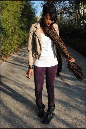 dark brown LV Scarf scarf - black London Rebel Boots boots - camel Jacket jacket