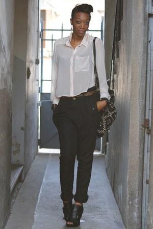 black asos bag - peach H&M top - black Asos Black heels - black Zara pants