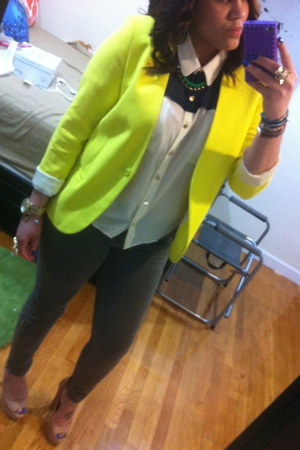 H&M blazer - Nasty Gal blouse - J Brand pants - Steve Madden heels