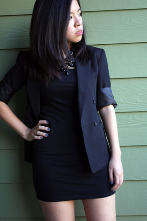 black thrifted blazer - Forever21 dress - J C Penney necklace
