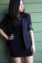 black thrifted blazer - Forever21 dress - J C Penney necklace