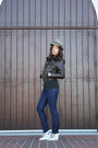 Skinny-jeans-macys-jeans-fedora-thrifted-hat-hollister-jacket-white-slingb