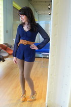 navy modcloth jumper - brown belt - tawny modcloth shoes