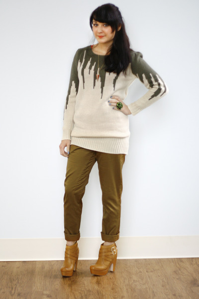 beige zig zag Knits a Cinch Sweater sweater - nude bootie Theory Booties boots