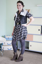 charcoal gray modcloth dress - black modcloth vest - charcoal gray modcloth tigh
