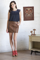 brown modcloth skirt - navy modcloth top - carrot orange modcloth wedges