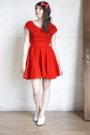 red modcloth dress - white modcloth flats - red hair bow modcloth accessories