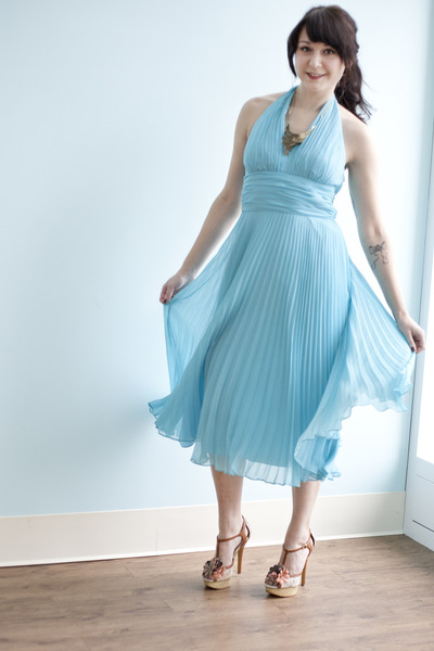 light blue pleated University of Marilyn Dress dress