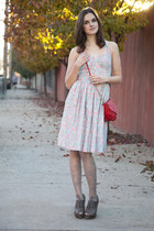 aquamarine modcloth dress - gray modcloth shoes - red modcloth bag