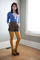 blue modcloth cardigan - mustard modcloth tights - dark brown modcloth shorts