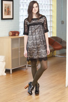 black modcloth dress - olive green modcloth tights - black modcloth shoes