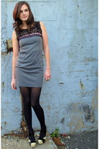gray modcloth dress - black tights - beige modcloth shoes