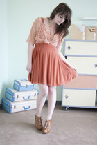 coral modcloth dress - light pink modcloth top - camel modcloth wedges