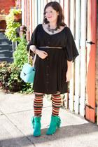 turquoise blue modcloth boots - black modcloth dress - tawny modcloth leggings