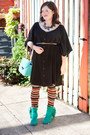 Turquoise-blue-modcloth-boots-black-modcloth-dress-tawny-modcloth-leggings