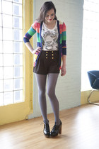 teal modcloth sweater - heather gray modcloth tights - black modcloth shorts