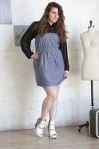 black modcloth blouse - sky blue modcloth dress - white matiko modcloth wedges