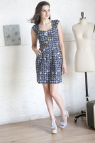 navy modcloth dress - light blue modcloth heels
