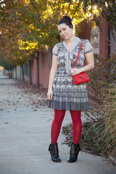 ivory modcloth dress - ruby red modcloth tights - black modcloth boots - red mod