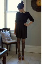 black modcloth dress - brown modcloth heels