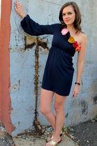 blue modcloth dress - gold shoes