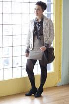 ivory modcloth blazer - gray modcloth blouse - neutral modcloth skirt - black mo