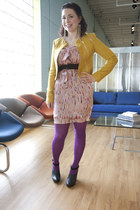 pink modcloth dress - mustard modcloth jacket - purple modcloth tights - black m