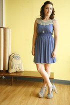 blue modcloth dress - silver modcloth necklace - light blue modcloth heels