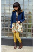 beige modcloth dress - blue modcloth jacket - brown thrifted belt - gold tights
