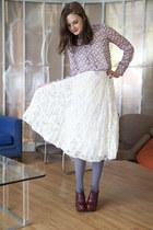 charcoal gray modcloth tights - ivory modcloth skirt - pink modcloth top - tawny
