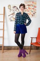 purple modcloth boots - teal modcloth shirt - navy modcloth shorts