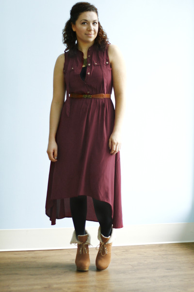brick red high-low H&M dress - navy random brand tights