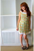 orange dress - green shoes - yellow - beige