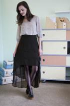 black modcloth tights - sky blue modcloth top - black modcloth skirt - black mod