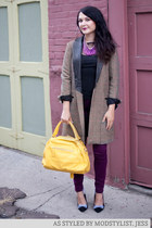 camel modcloth coat - purple modcloth jeans - yellow modcloth bag