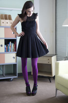 black modcloth dress - purple modcloth tights - black modcloth wedges