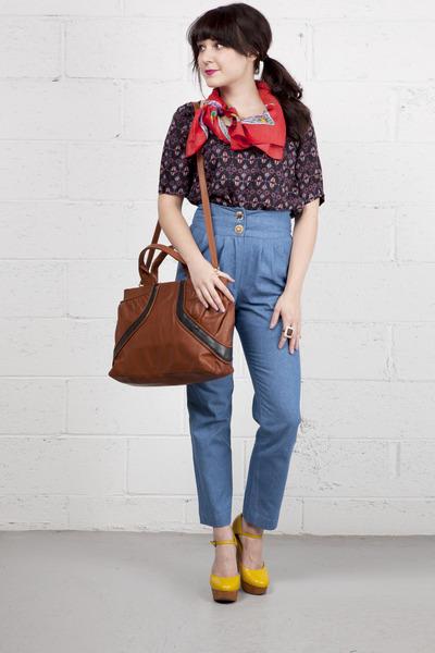 light blue modcloth pants - yellow modcloth shoes - red modcloth scarf