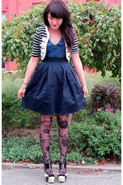 blue modcloth dress - black modcloth cardigan - blue modcloth skirt - black tigh