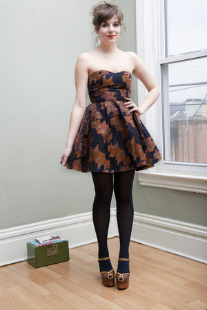 navy modcloth dress - navy modcloth tights - dark brown modcloth heels